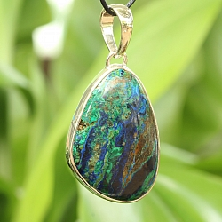 Azurite Malachit Pendant With Sterling Silver 925 39X26mm