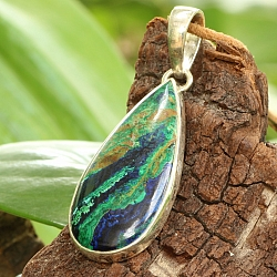 Azurite Malachit Oval Pendant With Sterling Silver 925 42x20mm