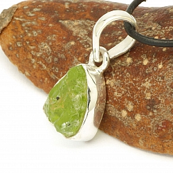 Peridot Pendant Facetted Sterlingsilver 925 15x10mm