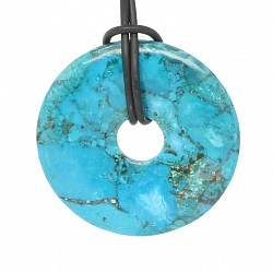 Turquoise donut stone pendant made of turquoise pieces compressed A quality 35mm