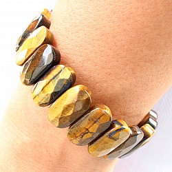 Tigerauge Armband  Facettierte Perlen Tigerauge Gold