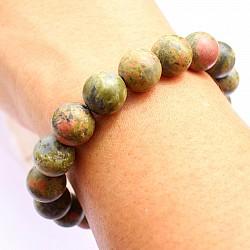 Unakite Bracelet Matt 11mm Matte Beads not polished