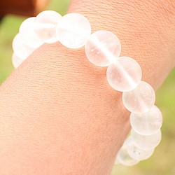 Bergkristall Armband Matt 10mm matte Perlen Natur Kristall