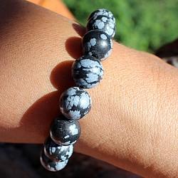 Obsidian Armband Schneeflocken-Obsidian Matt Perlen 10mm