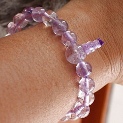 Amethyst Lavender Quartz Bracelet with Buddha Beads 8mm