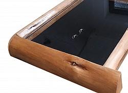 Holz Ringkasten mit Glasdeckel und Naturholz Rahmen ca 40*36cm