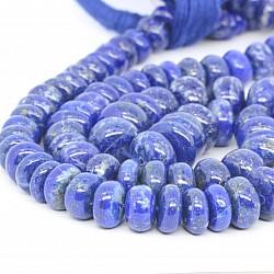 Lapislazuli Perlen Natur Button verlaufende Grösse  3*8 bis 11*7mm 44cm Länge