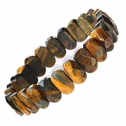 Tigerauge Armband mit Facetten Perlen 14mm