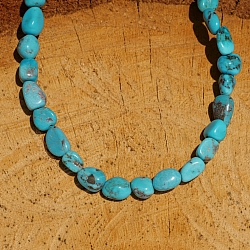 Turquoise beads A + natural shape 9x6mm 40cm