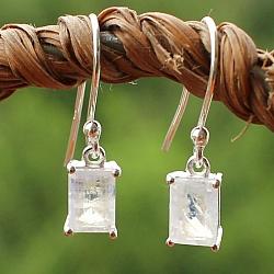 Mondstein Ohrringe Silber 925 7x5mm große Edelsteine rechteckig