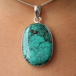 Turquoise Oval Pendant Stone Sterling Silver 925 34x25mm