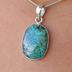Turquoise Oval Pendant Stone Sterling Silver 925 28x21mm