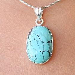 Turquoise Oval Pendant Stone Sterling Silver 925 29x19mm
