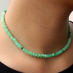 Chrysopras Spielsteine Halsketten 43 cm.