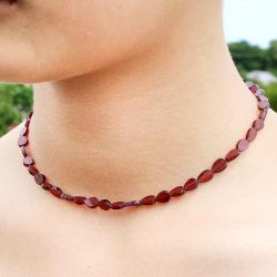 Granat Halskette flache Tröpfchen 45 cm mit Silberverschluss 925er