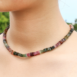 Tourmaline Multicolor Necklace 45cm With Square Beads Disk 5mm