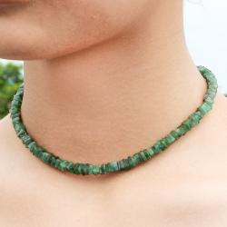 Smaragd Halskette mit quadratischen Scheiben 45cm