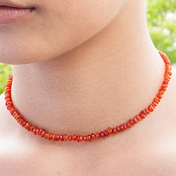 Carnelian Necklace 45cm Carnelian Lentil Beads 4mm