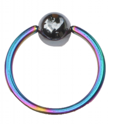 Ball Closure Ring Standard 1.0mm Piercing Ring Rainbow