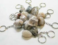 Agate key Chain with Bostwana Agate Tumbled Stonev 3 pcs