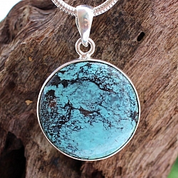 Tourquise Round Pendant Natural Stone Sterlingsilver 925 30mm Ø