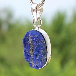 Lapis lazuli Oval Pandant Stone Sterlingsilver 925 24x16 mm.