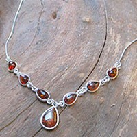 Amber Silver - Collier cognac 4039