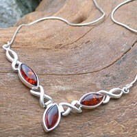 Amber Silver-Collier cognac CO4007