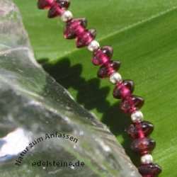 Garnet gemstone lenses silver bracelet