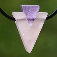 Rosenquarz-Amethyst Edelstein Kombi Dop.Triangle klein