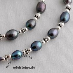 Perlenkette mit echten Zucht-Perlen Dunkel