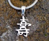 Chinesisches Schriftzeichen Long Life Sterling Silber 925