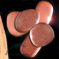 Goldstone Flat Stones 5 pieces Smooth Stones Gold Stone