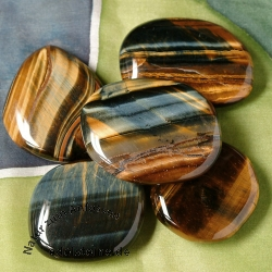 Tiger Eye Gold with Tigereye Blue AA 35/45/8-9mm Chakra Stone Flat Gemstone