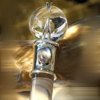 Heilstab Zauberstab aus Bergkristall mit Mondstein