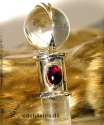 Heilstab Zauberstab aus Bergkristall mit Granat