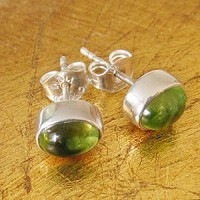 Peridot Stud Earrings Oval 8x6mm