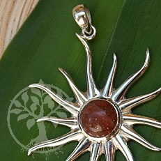 Silver Pendant Sun with Sunstone 2