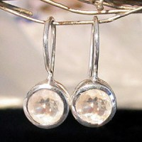 Earrings Moonstone faceted round