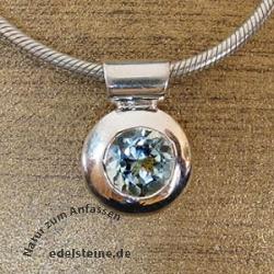 Silber-Anhaenger rund mit Aquamarin
