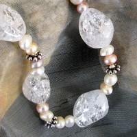 Bergkristall-Kette gecracked mit Perlen AS3