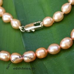 Perlenkette ovalen echten Zucht - Perlen ca. 6.5mm lachs