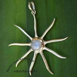 Silber-Anhaenger Sonne mit Mondstein 1