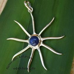 Silber-Anhaenger Sonne mit Lapislazuli 1