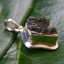 Silver Pendant Moldavit