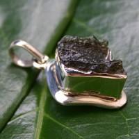 Anhaenger Moldavit in Silber gross 30x40mm