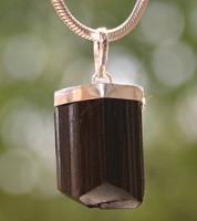 Turmaline black pendant with silver 925 Hook