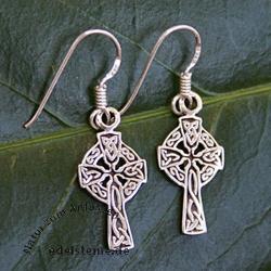 Cross Earring celtic style SIOHK11 Silver 925
