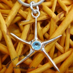 Silver Pendant Star with blue zirconia