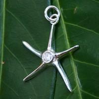 Silber Anhänger Stern mit weißem Zirkonia